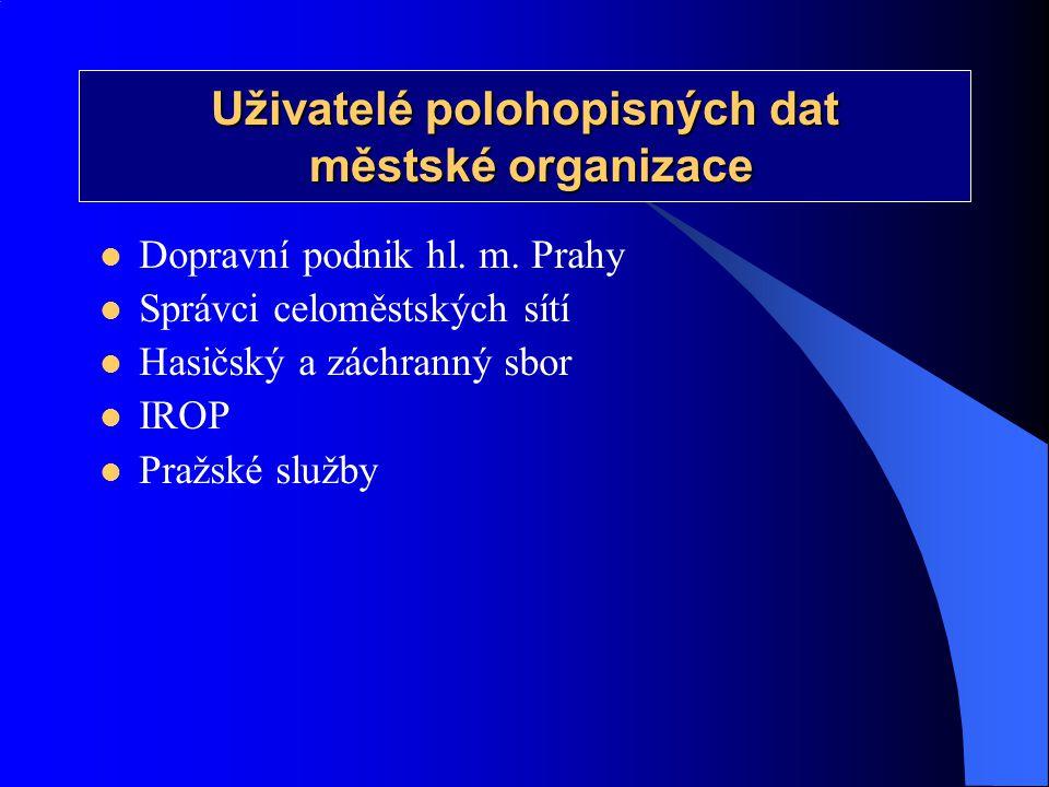 Uživatelé polohopisných dat městské organizace městské organizace  Dopravní podnik hl. m. Prahy  Správci celoměstských sítí  Hasičský a záchranný s