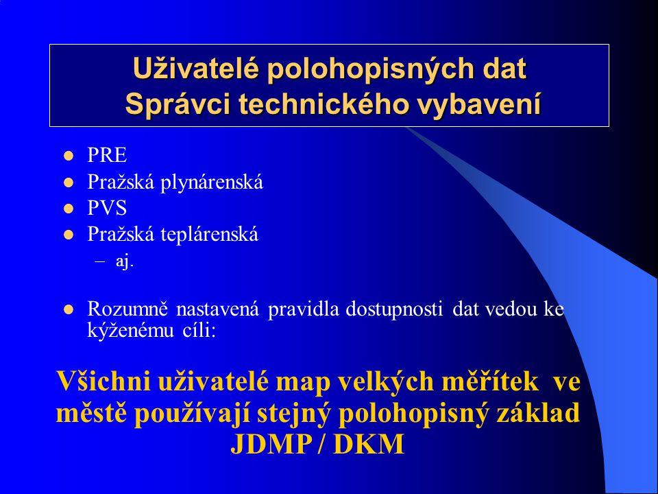  PRE  Pražská plynárenská  PVS  Pražská teplárenská –aj.  Rozumně nastavená pravidla dostupnosti dat vedou ke kýženému cíli: Uživatelé polohopisn