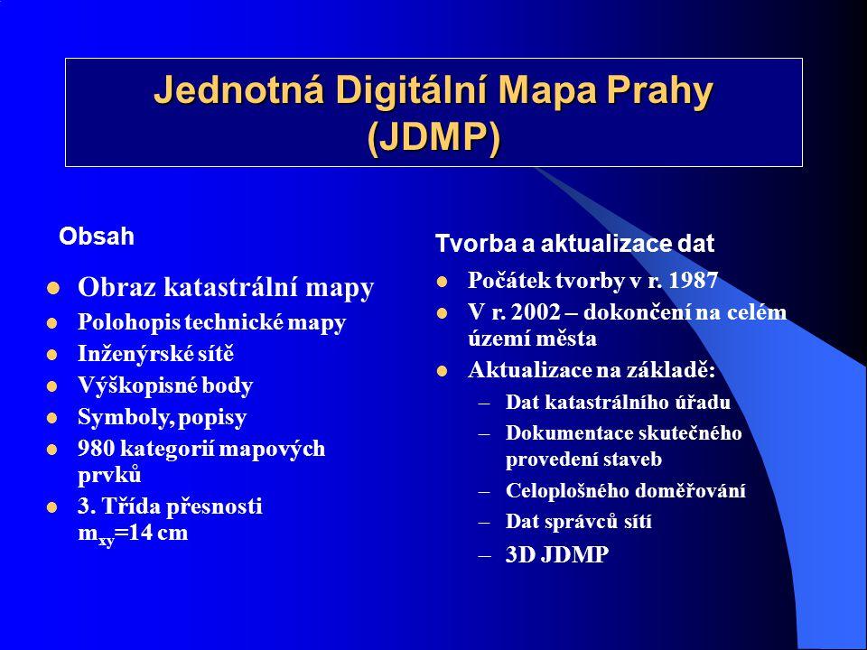 Jednotná Digitální Mapa Prahy (JDMP)  Obraz katastrální mapy  Polohopis technické mapy  Inženýrské sítě  Výškopisné body  Symboly, popisy  980 k