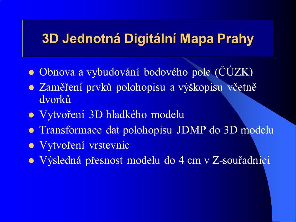3D Jednotná Digitální Mapa Prahy  Obnova a vybudování bodového pole (ČÚZK)  Zaměření prvků polohopisu a výškopisu včetně dvorků  Vytvoření 3D hladk