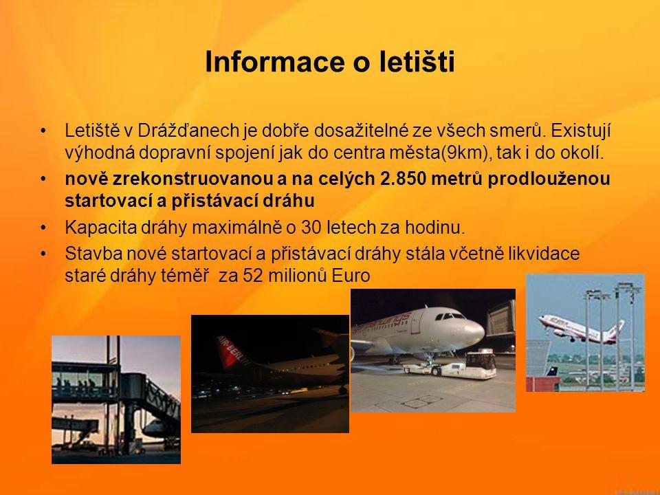 Informace o letišti •Letiště v Drážďanech je dobře dosažitelné ze všech smerů. Existují výhodná dopravní spojení jak do centra města(9km), tak i do ok