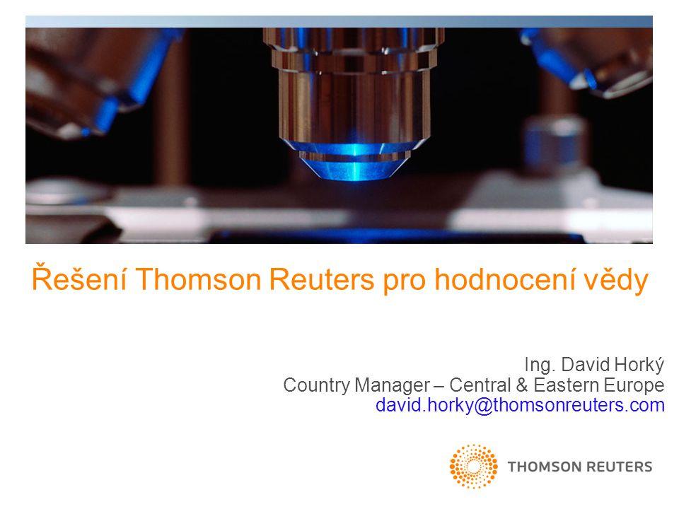 Řešení Thomson Reuters pro hodnocení vědy Ing.
