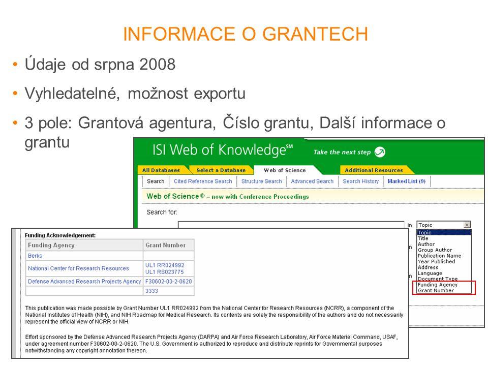 INFORMACE O GRANTECH •Údaje od srpna 2008 •Vyhledatelné, možnost exportu •3 pole: Grantová agentura, Číslo grantu, Další informace o grantu