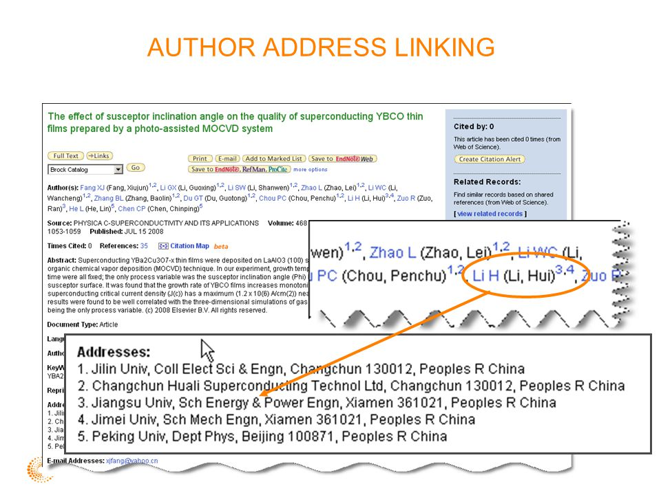 AUTHOR ADDRESS LINKING