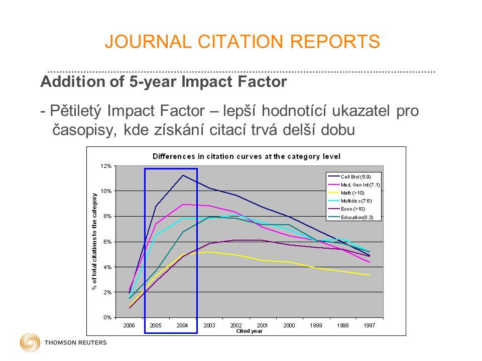 21 JOURNAL CITATION REPORTS Addition of 5-year Impact Factor - Pětiletý Impact Factor – lepší hodnotící ukazatel pro časopisy, kde získání citací trvá delší dobu