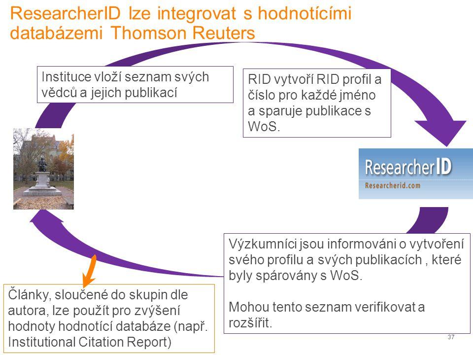 37 ResearcherID lze integrovat s hodnotícími databázemi Thomson Reuters Články, sloučené do skupin dle autora, lze použít pro zvýšení hodnoty hodnotící databáze (např.