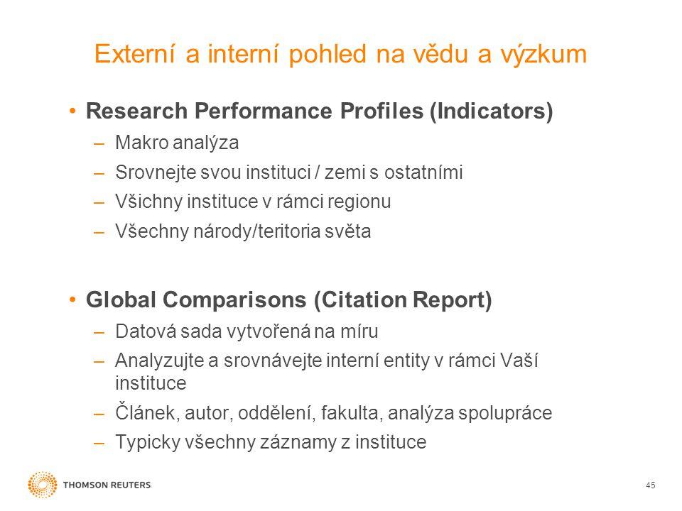 Externí a interní pohled na vědu a výzkum 45 •Research Performance Profiles (Indicators) –Makro analýza –Srovnejte svou instituci / zemi s ostatními –Všichny instituce v rámci regionu –Všechny národy/teritoria světa •Global Comparisons (Citation Report) –Datová sada vytvořená na míru –Analyzujte a srovnávejte interní entity v rámci Vaší instituce –Článek, autor, oddělení, fakulta, analýza spolupráce –Typicky všechny záznamy z instituce