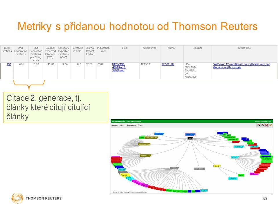 Metriky s přidanou hodnotou od Thomson Reuters 53 Citace 2.