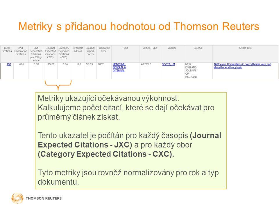 Metriky s přidanou hodnotou od Thomson Reuters Metriky ukazující očekávanou výkonnost.