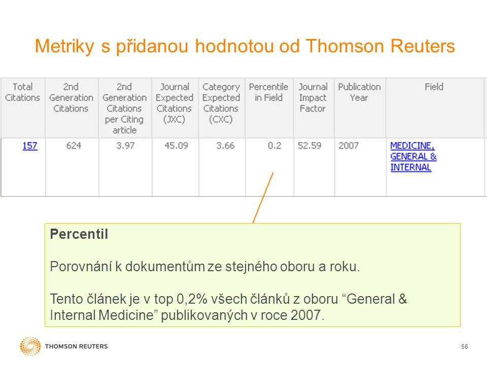 Metriky s přidanou hodnotou od Thomson Reuters 56 Percentil Porovnání k dokumentům ze stejného oboru a roku.
