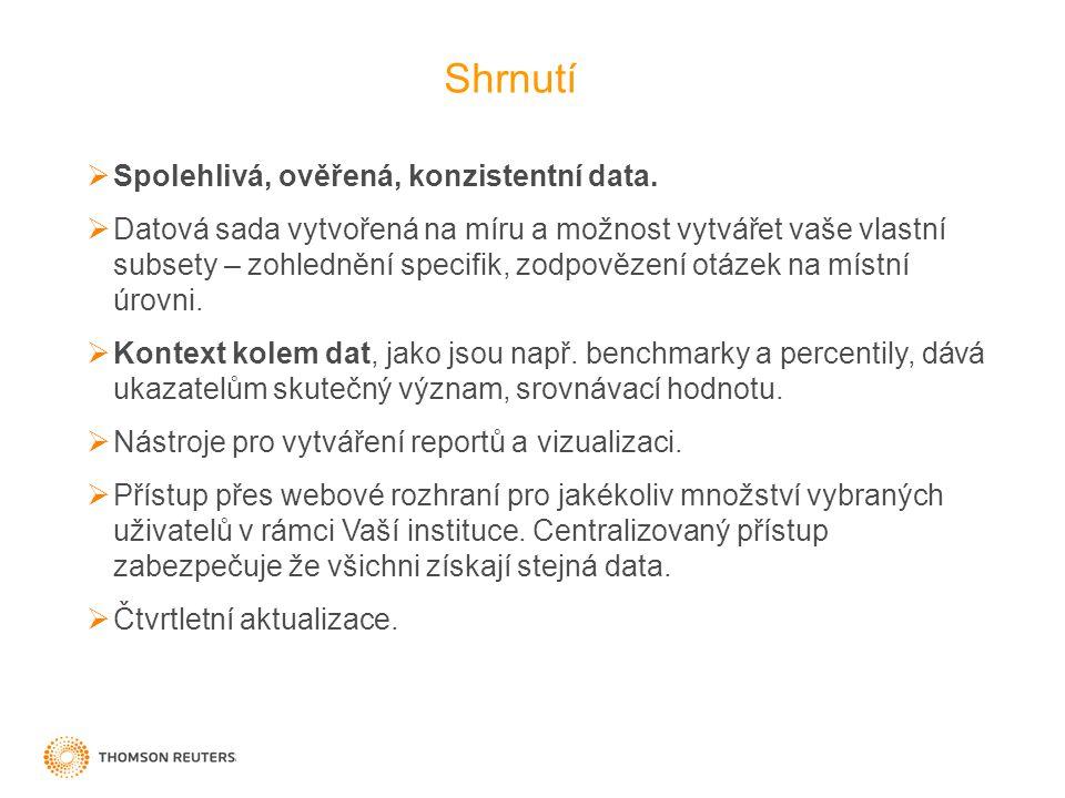 Shrnutí  Spolehlivá, ověřená, konzistentní data.