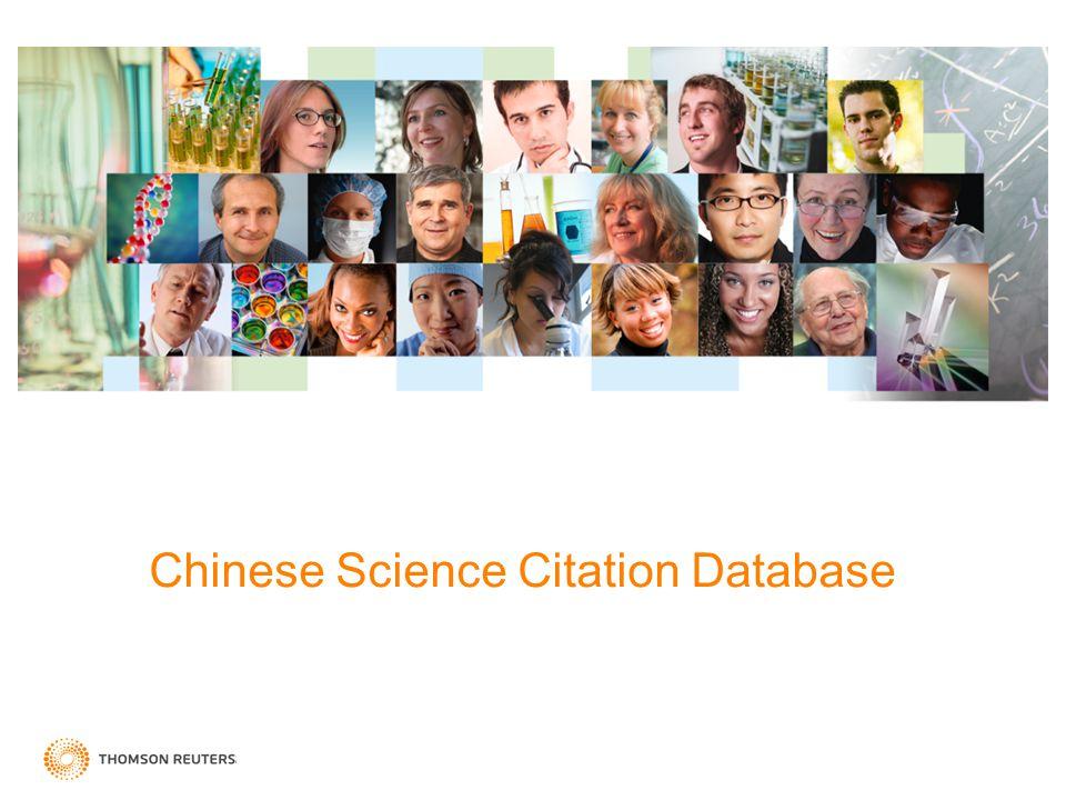 CHINESE SCIENCE CITATION DATABASE •Zaměření na čínský výzkum •Zpracováno ve spolupráci s Čínskou akademií věd •Samostatný citační rejstřík •Možnost hledání v dané databázi či All Database Search