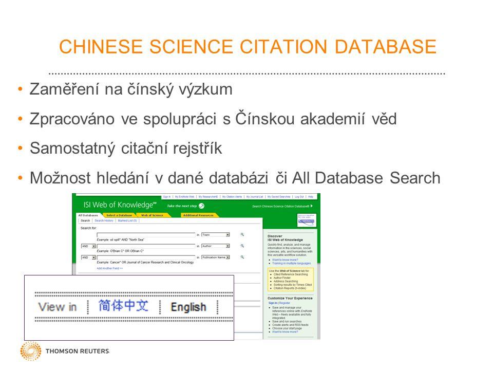 CHINESE SCIENCE CITATION DATABASE