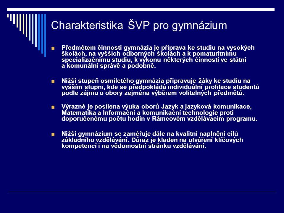 Charakteristika ŠVP pro gymnázium Předmětem činnosti gymnázia je příprava ke studiu na vysokých školách, na vyšších odborných školách a k pomaturitním