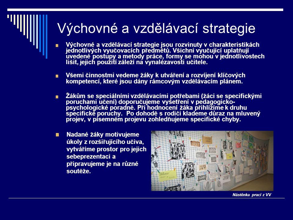 Výchovné a vzdělávací strategie Výchovné a vzdělávací strategie jsou rozvinuty v charakteristikách jednotlivých vyučovacích předmětů. Všichni vyučujíc