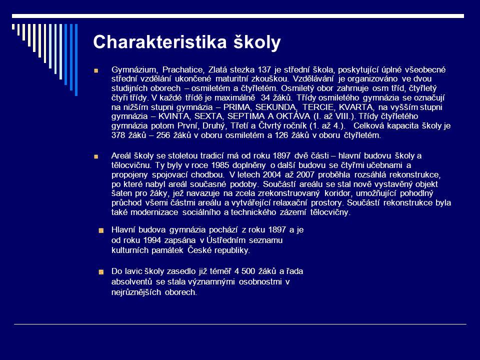 Charakteristika školy Gymnázium, Prachatice, Zlatá stezka 137 je střední škola, poskytující úplné všeobecné střední vzdělání ukončené maturitní zkoušk