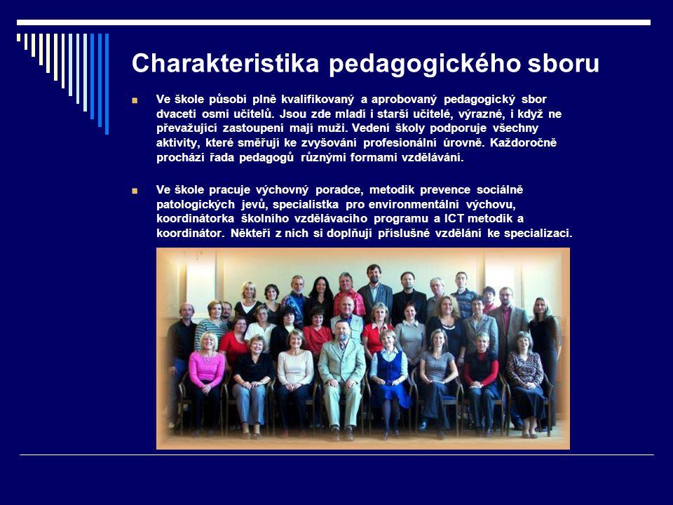 Charakteristika pedagogického sboru Ve škole působí plně kvalifikovaný a aprobovaný pedagogický sbor dvaceti osmi učitelů.