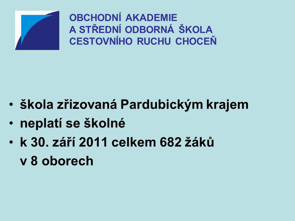 •škola zřizovaná Pardubickým krajem •neplatí se školné •k 30. září 2011 celkem 682 žáků v 8 oborech