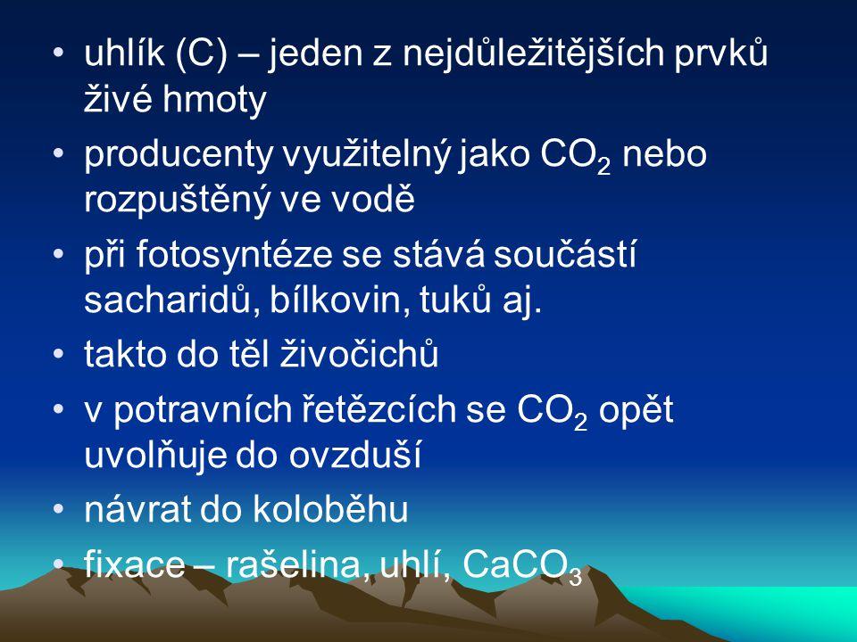 •uhlík (C) – jeden z nejdůležitějších prvků živé hmoty •producenty využitelný jako CO 2 nebo rozpuštěný ve vodě •při fotosyntéze se stává součástí sacharidů, bílkovin, tuků aj.