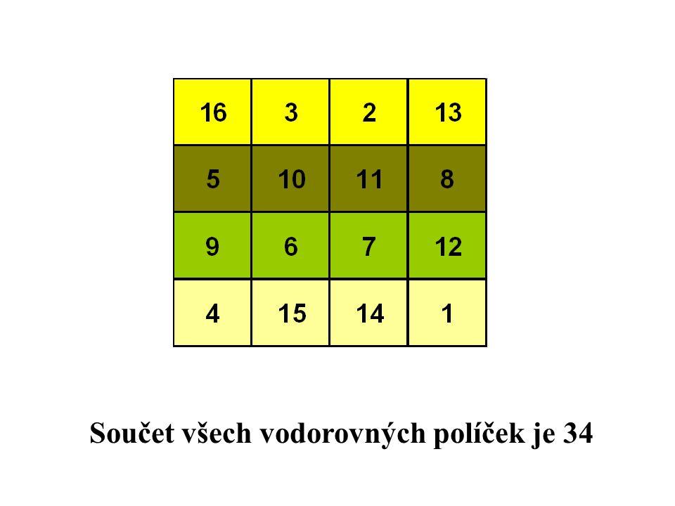 I součet vertikálních políček je 34