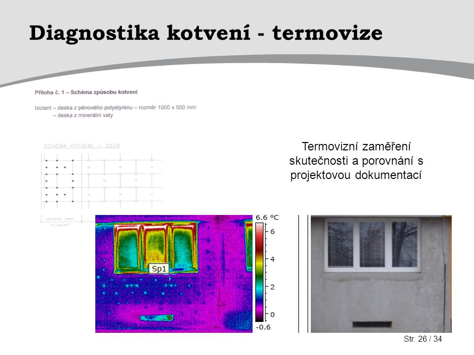 Diagnostika kotvení - termovize Termovizní zaměření skutečnosti a porovnání s projektovou dokumentací Str. 26 / 34