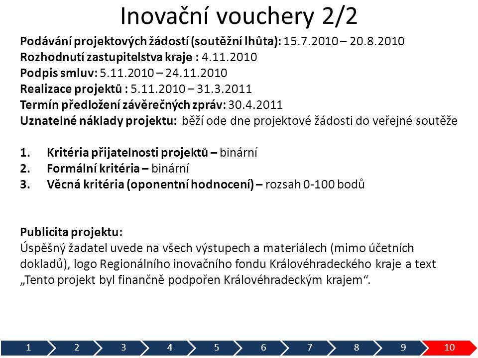 Inovační vouchery 2/2 Podávání projektových žádostí (soutěžní lhůta): 15.7.2010 – 20.8.2010 Rozhodnutí zastupitelstva kraje : 4.11.2010 Podpis smluv: