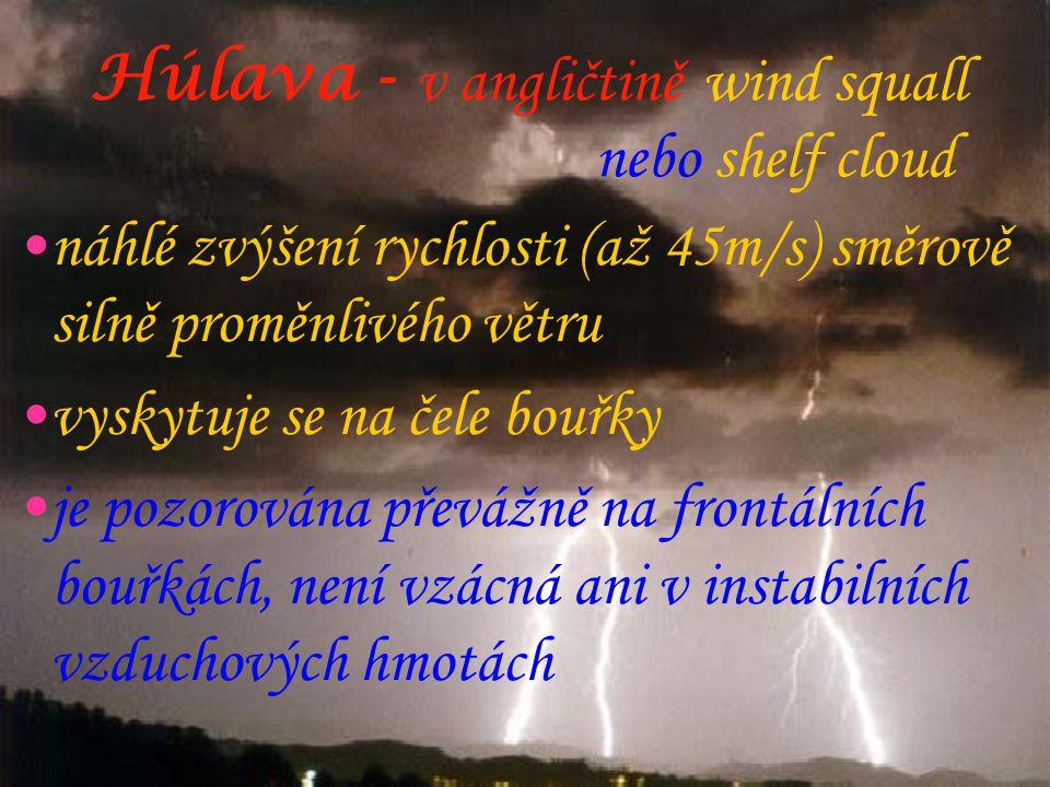 Húlava - v angličtině wind squall nebo shelf cloud •náhlé zvýšení rychlosti (až 45m/s) směrově silně proměnlivého větru •vyskytuje se na čele bouřky •