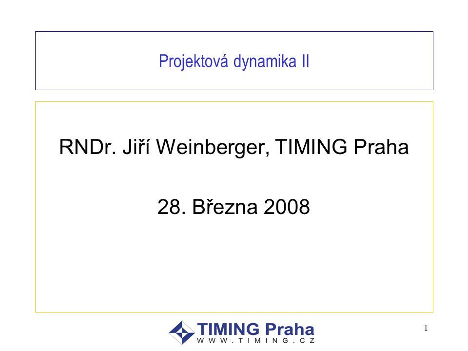 1 Projektová dynamika II RNDr. Jiří Weinberger, TIMING Praha 28. Března 2008