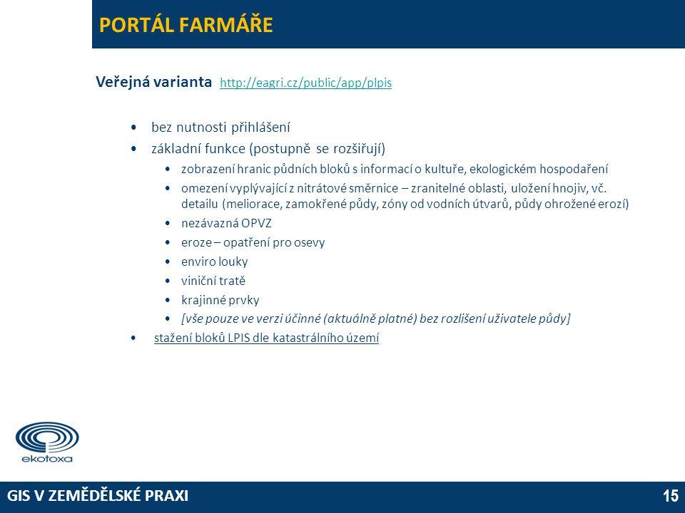 GIS V ZEMĚDĚLSKÉ PRAXI 15 PORTÁL FARMÁŘE Veřejná varianta http://eagri.cz/public/app/plpis http://eagri.cz/public/app/plpis •bez nutnosti přihlášení •