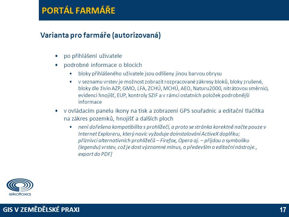 GIS V ZEMĚDĚLSKÉ PRAXI 17 PORTÁL FARMÁŘE Varianta pro farmáře (autorizovaná) •po přihlášení uživatele •podrobné informace o blocích •bloky přihlášenéh