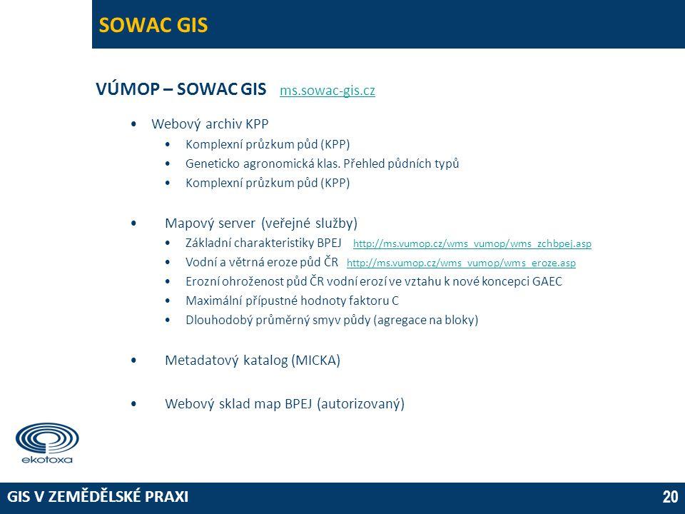 GIS V ZEMĚDĚLSKÉ PRAXI 20 SOWAC GIS VÚMOP – SOWAC GIS ms.sowac-gis.cz ms.sowac-gis.cz •Webový archiv KPP •Komplexní průzkum půd (KPP) •Geneticko agron