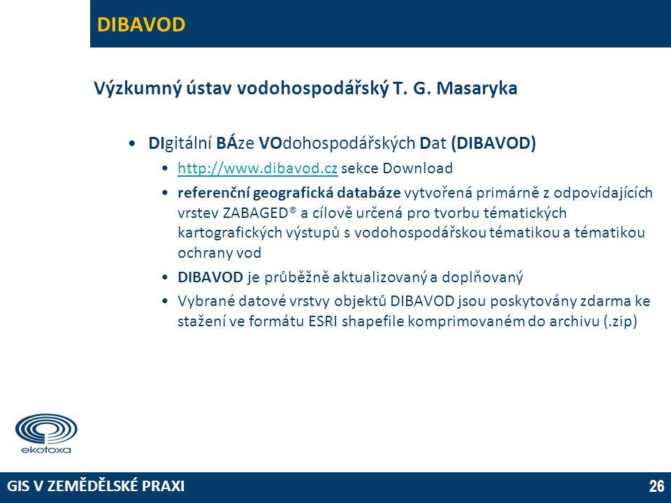 GIS V ZEMĚDĚLSKÉ PRAXI 26 DIBAVOD Výzkumný ústav vodohospodářský T. G. Masaryka •DIgitální BÁze VOdohospodářských Dat (DIBAVOD) •http://www.dibavod.cz