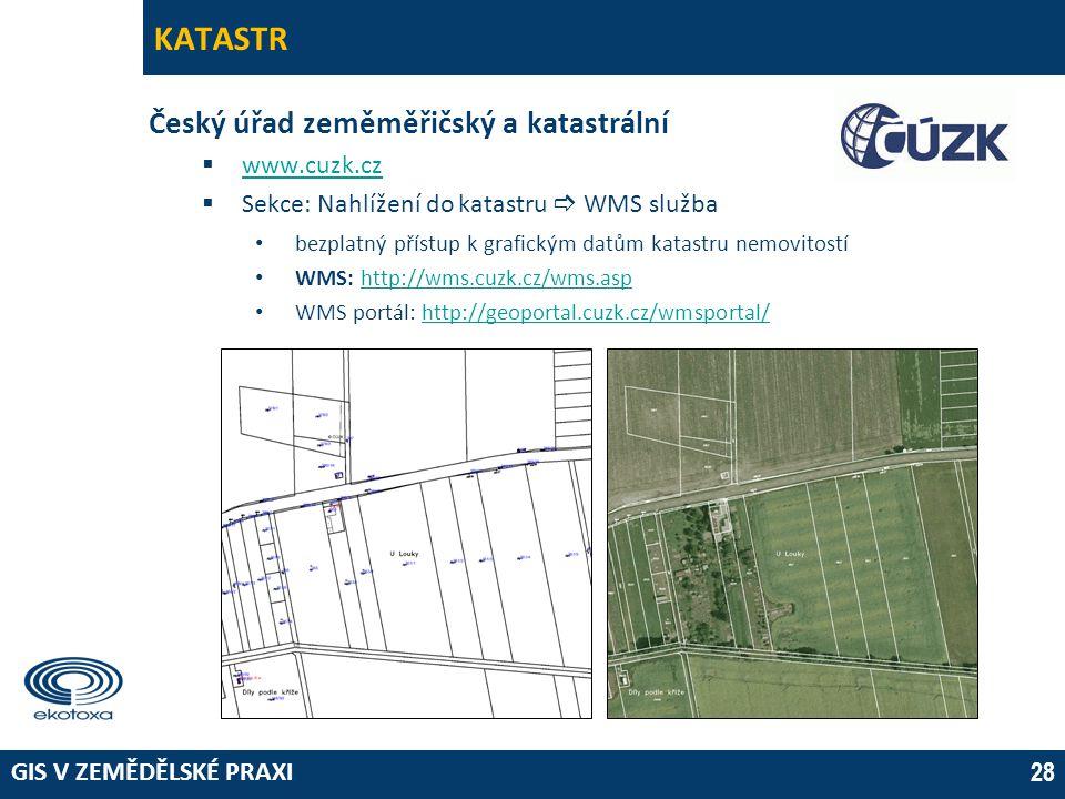 GIS V ZEMĚDĚLSKÉ PRAXI 28 KATASTR Český úřad zeměměřičský a katastrální  www.cuzk.cz www.cuzk.cz  Sekce: Nahlížení do katastru  WMS služba • bezpla