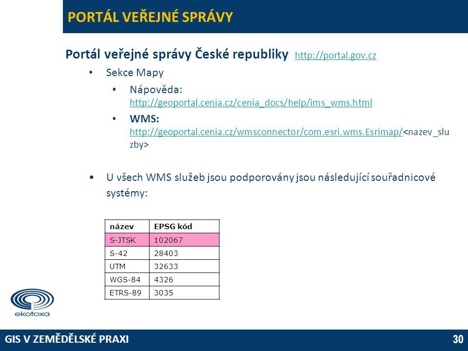 GIS V ZEMĚDĚLSKÉ PRAXI 30 PORTÁL VEŘEJNÉ SPRÁVY Portál veřejné správy České republiky http://portal.gov.cz http://portal.gov.cz • Sekce Mapy • Nápověd