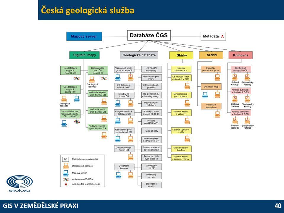 GIS V ZEMĚDĚLSKÉ PRAXI 40 Česká geologická služba