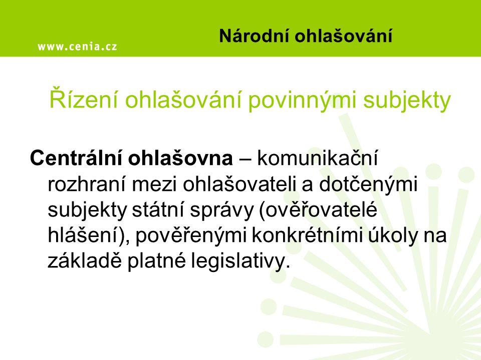 Národní ohlašování CO ohlašovatel ČIŽP Krajský úřad ORP Správci povodí VÚV T.G.M. CENIA ČHMÚ