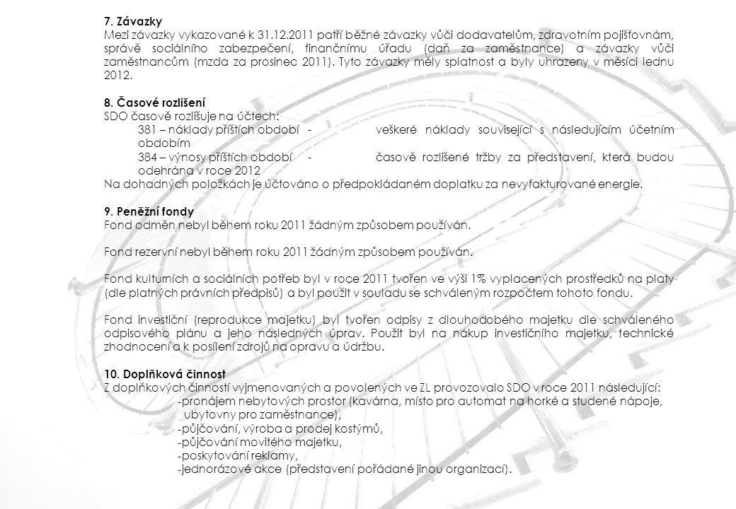 7. Závazky Mezi závazky vykazované k 31.12.2011 patří běžné závazky vůči dodavatelům, zdravotním pojišťovnám, správě sociálního zabezpečení, finančním