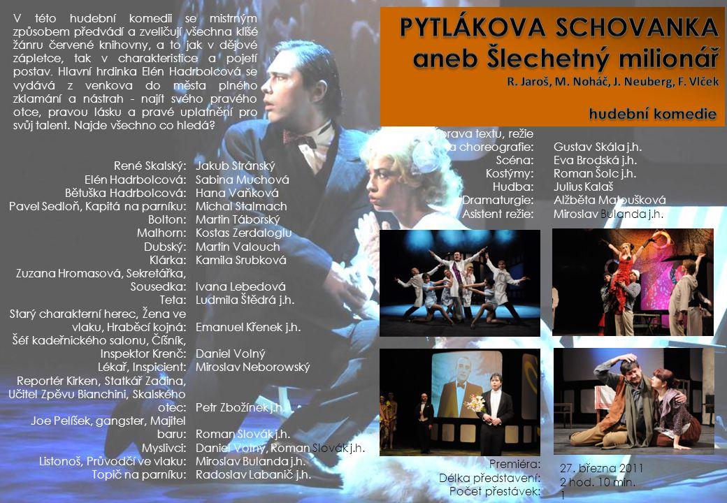 Úprava textu, režie a choreografie: Scéna: Kostýmy: Hudba: Dramaturgie: Asistent režie: Gustav Skála j.h. Eva Brodská j.h. Roman Šolc j.h. Julius Kala