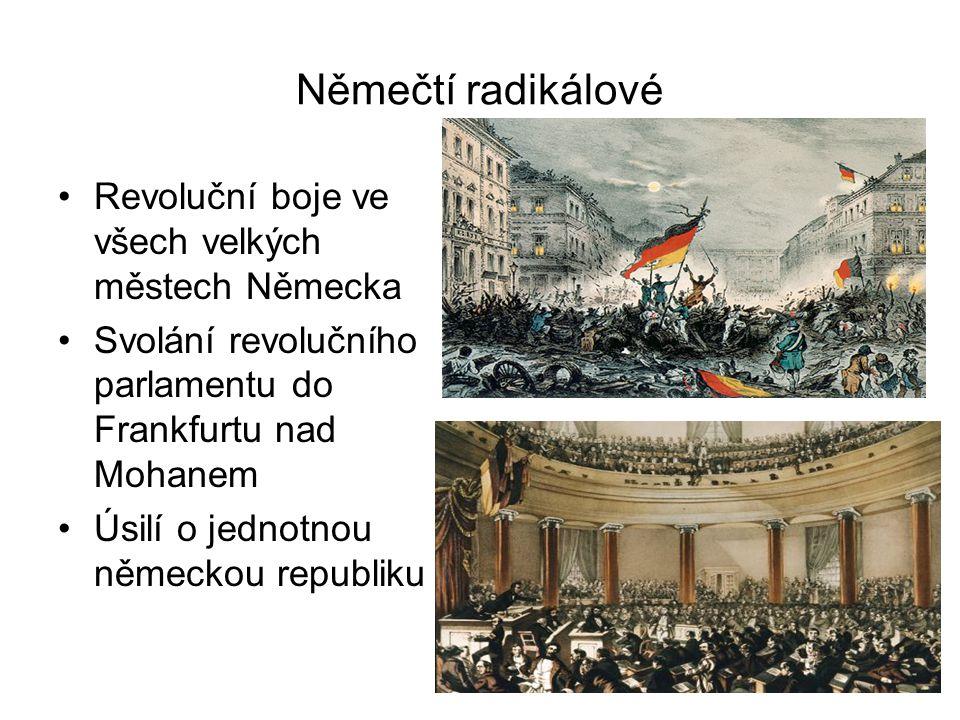 Němečtí radikálové •Revoluční boje ve všech velkých městech Německa •Svolání revolučního parlamentu do Frankfurtu nad Mohanem •Úsilí o jednotnou němec
