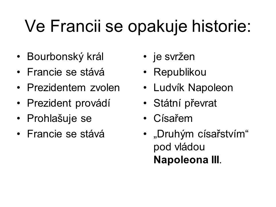 Ve Francii se opakuje historie: •Bourbonský král •Francie se stává •Prezidentem zvolen •Prezident provádí •Prohlašuje se •Francie se stává •je svržen