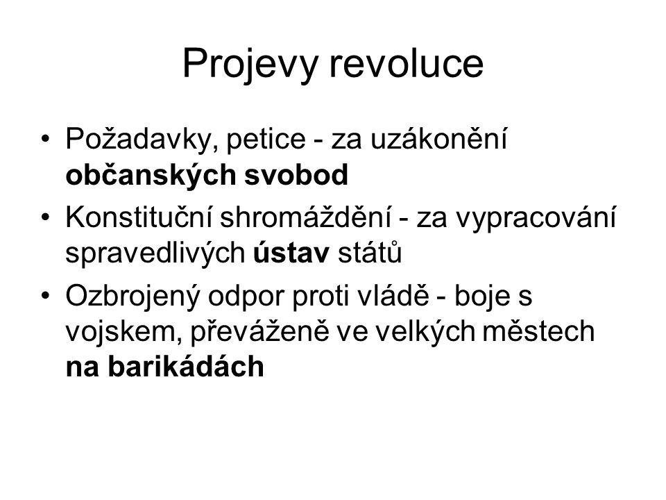 Projevy revoluce •Požadavky, petice - za uzákonění občanských svobod •Konstituční shromáždění - za vypracování spravedlivých ústav států •Ozbrojený od