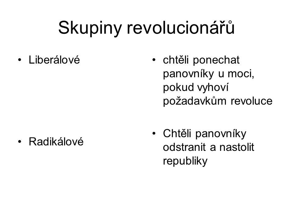 Skupiny revolucionářů •Liberálové •Radikálové •chtěli ponechat panovníky u moci, pokud vyhoví požadavkům revoluce •Chtěli panovníky odstranit a nastol