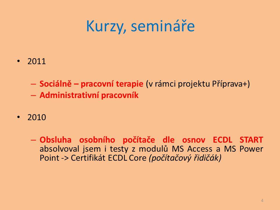 Kurzy, semináře • 2011 – Sociálně – pracovní terapie (v rámci projektu Příprava+) – Administrativní pracovník • 2010 – Obsluha osobního počítače dle o