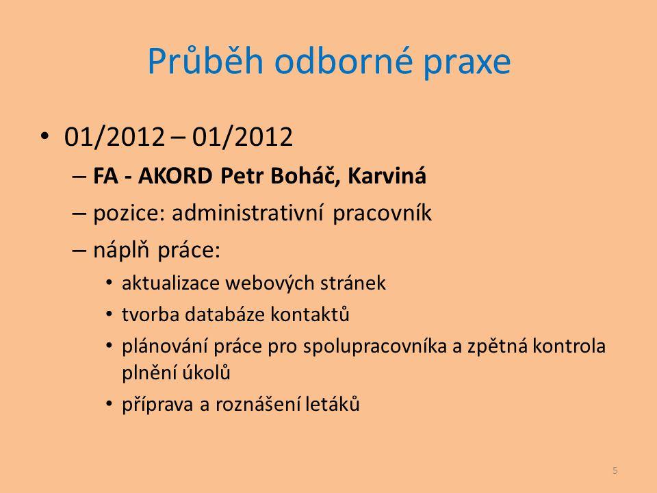 Průběh odborné praxe • 01/2012 – 01/2012 – FA - AKORD Petr Boháč, Karviná – pozice: administrativní pracovník – náplň práce: • aktualizace webových st