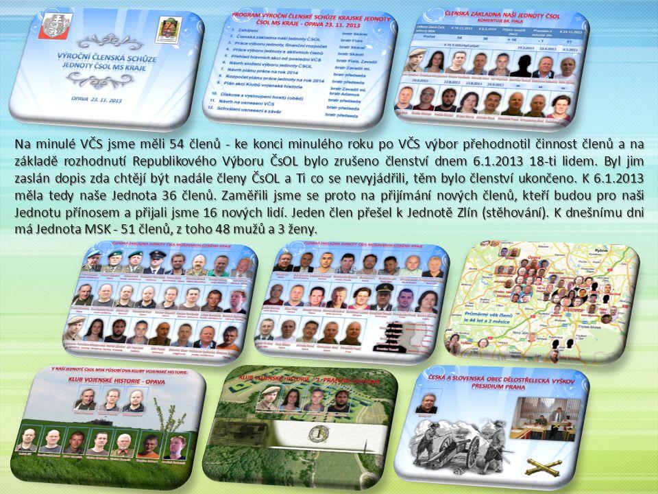 Na minulé VČS jsme měli 54 členů - ke konci minulého roku po VČS výbor přehodnotil činnost členů a na základě rozhodnutí Republikového Výboru ČsOL bylo zrušeno členství dnem 6.1.2013 18-ti lidem.