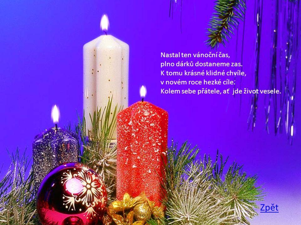 Nastal ten vánoční čas, plno dárků dostaneme zas. K tomu krásné klidné chvíle, v novém roce hezké cíle. Kolem sebe přátele, ať jde život vesele.