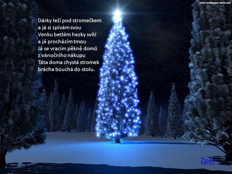 Dárky leží pod stromečkem a já si zpívám svou Venku betlém hezky svítí a já procházím tmou Já se vracím pěkně domů z vánočního nákupu Táta doma chystá