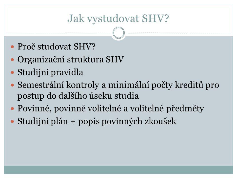 Jak vystudovat SHV?  Proč studovat SHV?  Organizační struktura SHV  Studijní pravidla  Semestrální kontroly a minimální počty kreditů pro postup d