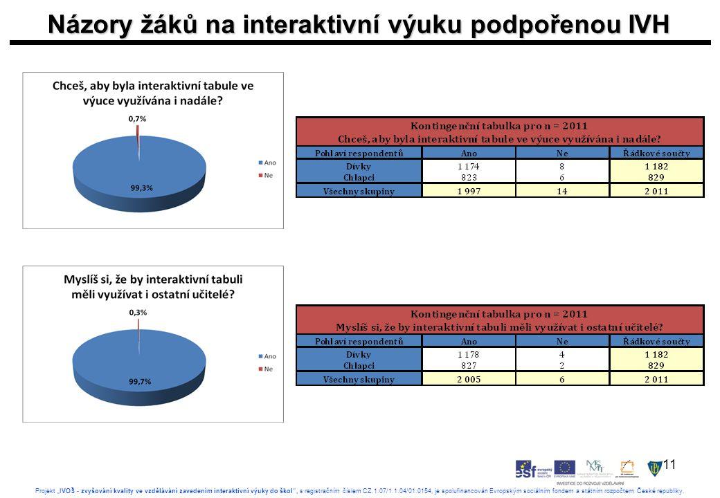 """11 Projekt """"IVOŠ - zvyšování kvality ve vzdělávání zavedením interaktivní výuky do škol , s registračním číslem CZ.1.07/1.1.04/01.0154, je spolufinancován Evropským sociálním fondem a státním rozpočtem České republiky."""