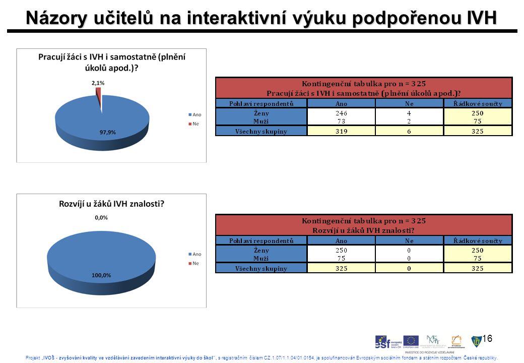 """16 Projekt """"IVOŠ - zvyšování kvality ve vzdělávání zavedením interaktivní výuky do škol , s registračním číslem CZ.1.07/1.1.04/01.0154, je spolufinancován Evropským sociálním fondem a státním rozpočtem České republiky."""
